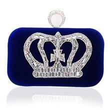 hot-selling fashion diamond crown suede evening bag lady handbag wholesale