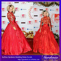 roja de manga larga de tafetán vestido de baile alfombra roja vestido de bola de celebridades vestido de cóctel