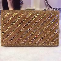 Crystal Lady fashion Wedding Bridal Party Metal Case Box Clutch Bag