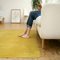 Bathroom tile design floor tiles yellow shag rug carpet