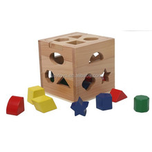 Shape Sorter cube colorful Wooden Geometric Shape Block Toys