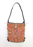 Vintage Fabric HMONG Bag Leather Strap Hand Woven Fair Trade Thailand