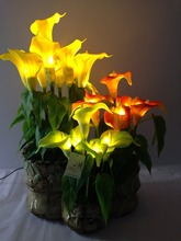 Orange Calla Lily Party Holiday Lighting Decorative PU Artificial LED Flowers
