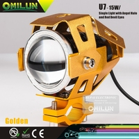 New U7 Electric Vehicle led motorcycle head lamp with colorful Angel Eye Light