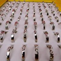 Cheap wholesale platinum diamond alloy finger rings for females