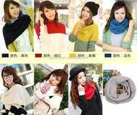 Women girl Winter Warm Infinity 2 Circle Cable Knit Cowl Neck Long Scarf Shawl