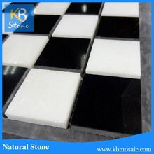2016 Polished Black and White Marble Square Pattern Bathroom Sink Countertop Mosaic Tile