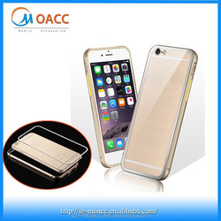 Aluminum metal bumper case for iphone 6 with transparent pc back cover