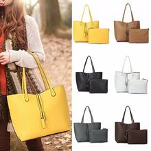 2PCS/Set Women Lady Leather Handbag Shoulder Bag Tote Party Clutch Wallet Purse