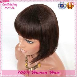Short human hair cheap priced 10'' halloween party wigs