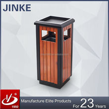 Ashtray Standing Outdoor Recycling Wood Stainless Steel Garbage Waste Bin For Sale