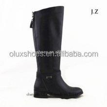 LQEB25 Excellent Condition Motorcycle Style Women Black Leather Boots