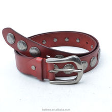 Western durable red patent studded genuine leather belts and buckles for wholesale
