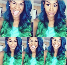 Stock Top Fashion Ombre Color Body Wave 100% Human Hair 24 Inch Brazilian Hair Blue Human Hair Wig