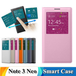 Toq Quality View Window Flip Leather PU Case For Samsung Galaxy Note 3 Lite Neo N7505 N7506 Back Cases Battery Housing Cover PY