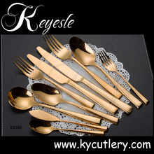 gold stainless spoon and fork,hotel table flatware,restaurant flatware