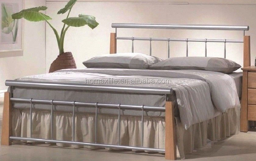 Cheapest Single Metal Bed Frame With Wood Leg From Factory