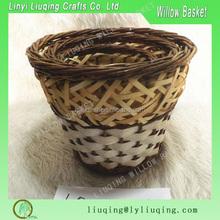 handmade round wicker plant basket/Decorative handmade container wholesale willow storge baskets/rattan natural folk wicker