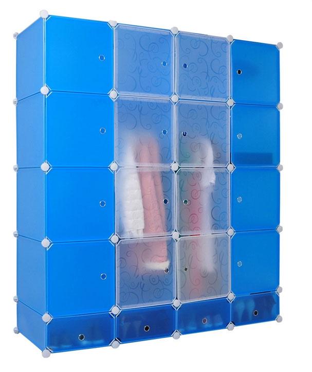 portátil de plástico armario ropero con armario puerta-Guardarropas ...