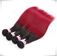 2015 Cheap silk straight Ombre Brazilian Hair, 1B/BUG Two Tone Ombre Remi Hair Weaving
