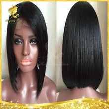 Alibaba Trade Assurance Top Quality Wholesale Side Part Peruvian Virgin Human Hair Short Bob Lace Front Wig New Fashion Style