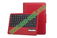 Litchi Pattern Detachable Stand Bluetooth Keyboard for iPad Mini with Leather Case cover