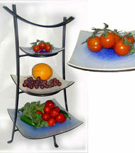 high quality metal art 3-tier fruit shelf rack display racks tray holder 3 tier fusion plate stand dessert tray displays