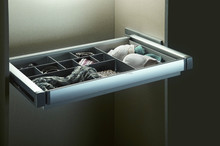 Home accessory pull out swing drawer