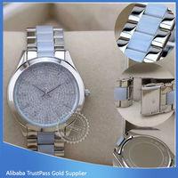 Top Brand wrist Watch women,Japan movt quartz Stainless Steel back MK watch for women