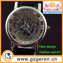 New design skeleton automatic watch man quartz stainless steel back watch, couple lover wrist watch, fashion watch