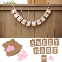 HOT Baby Shower Sweet Baby Candy Bar Banner Bunting Garland Wedding Party DIY Romantic Vintage Decoration