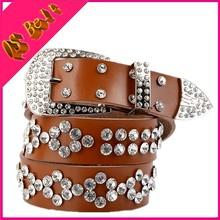 Fashion Inlay Crystal Cool Belt Korean Women's Rhinestone Inlaid Alloy Buckle PU Leather Belt