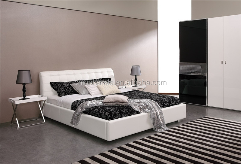 Ma47o Elegant Bedroom Furniture Modern Black White Comfy Soft Leather B