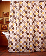 Printed 100% Polyester Yellow And Grey Shower Curtain