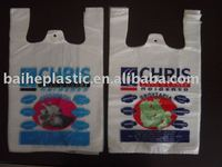 HDPE heat seal t-shirt bags with gravure printing /PE shopping bags