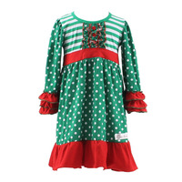 Kaiyo top design red and green christmas knitted dress photo ruffle sleeves newborn baby small girl kids fancy dress costumes