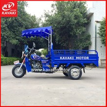 Hot Blue 3 Wheel Pedal Cargo Tricycle / Engine Power Cargo Tricycle For Loading Heavy Goods With Rear Big Cargo Box Motor Cycle