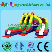 new design dual lane inflatable curve trampoline slide