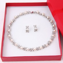 2015 Hot Fashion 18K Gold Plated Crystal Pearl Jewelry Set Women Wedding Bridal Costume Necklace Earrings 3pcs A3009K