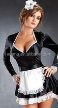 Fêmea adulta fancy dress sexy francês da empregada doméstica do traje para festa vestido BWG8574
