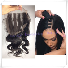 top sale virgin brazilian human hair invisible 3 wavy part body wave closure with bleached knots