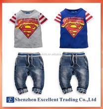 Summer cool superman sports suit/Casual 2pc set t-shirt+denim jeans/Good quality twins clothing set