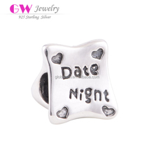 925 Sterling Silver Antique Finishing Vintage Date Night Heart Charm