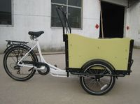 three wheel electric cargo trike / denish bakfiets family front cargo bikes for children