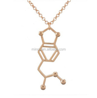 Chemical Molecular Formula Pendant Science Charm Necklace Gold Color