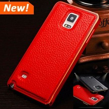 Luxury leather cell phone cover + ultra thin metal case cover for Samsung galaxy S5 S6 bumper