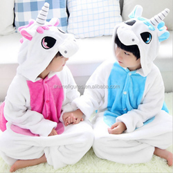 Unicorn Pattern Long Sleeve Flannel Thick Pajamas- Children Size