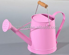 2Gallon Round Wooden Handle Galvanized Zinc Metal Flower Planter/Watering Can/Watering Pot Powder Coat Pink