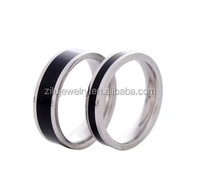 Zilu adjustable custom stainless steel rings with black epoxy funny engagement rings wholesale