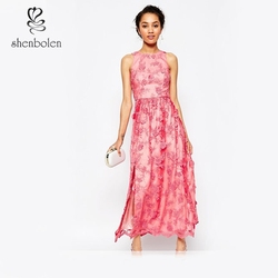 OEM wholesale High Quality Fashion and Elegant Embroidered Halter Neck Maxi Dress Pink Evening dress FOR Women